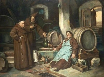 Monks_drinking wine