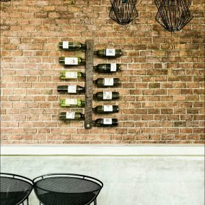 Rustic timber wall wine rack