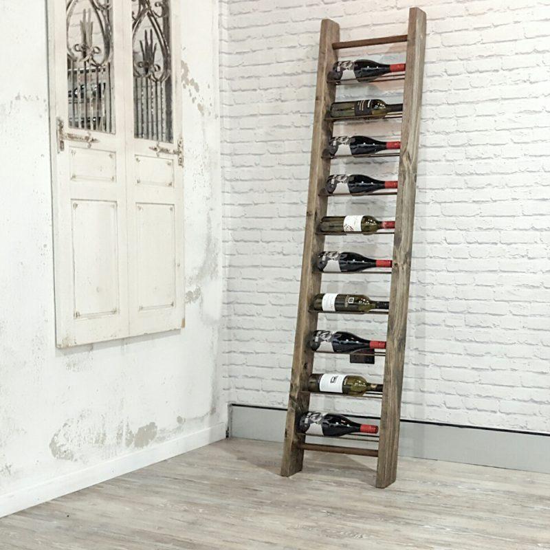 Timber ladder wine rack