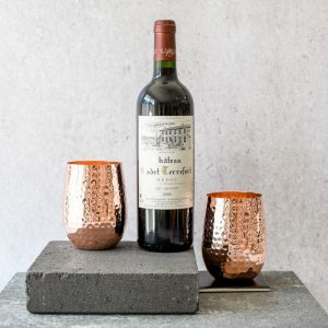stemless copper glass pair