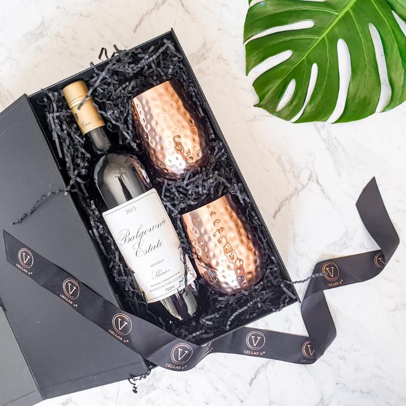 wine and glass gift set copper