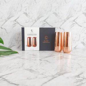 Copper Stemless Champagne Flutes in Box
