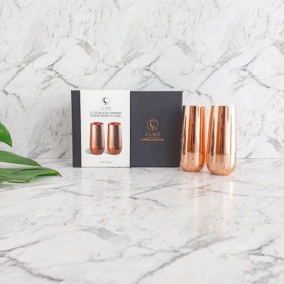 Copper Stemless Champagne Flutes in Box