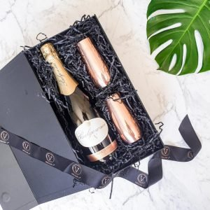 champagne and flutes gift set copper