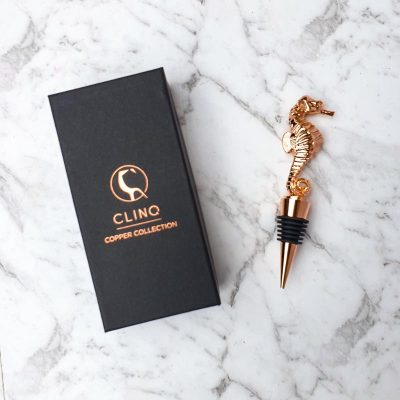 Seahorse Rose Gold Bottle Stopper in Box