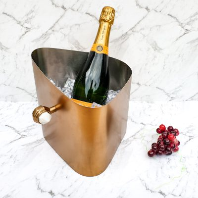 marble and copper ice bucket