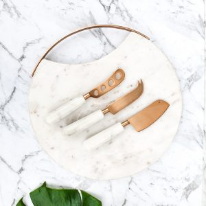 copper marble cheese knife set