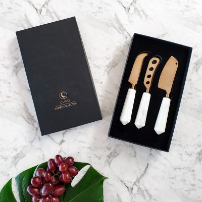 Boxed marble cheese knife set
