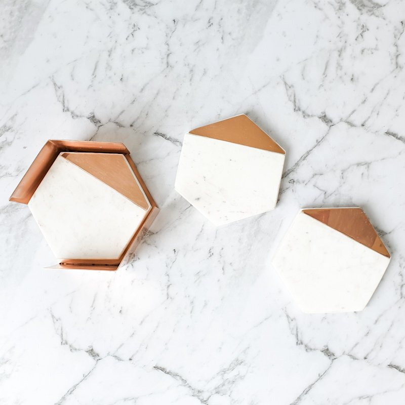 Hexagon Marble Coasters