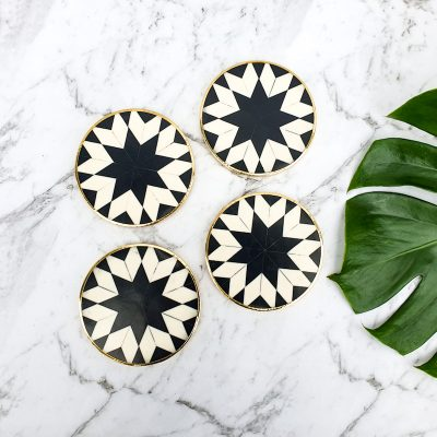 bone inlay coaster set