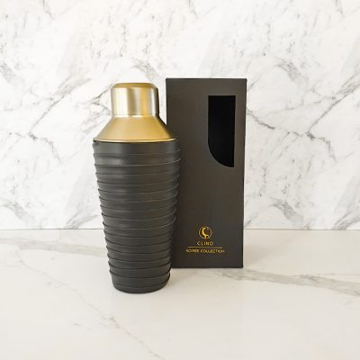 boxed brass cocktail shaker