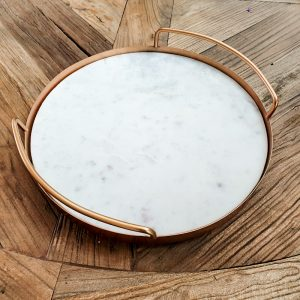 copper round marble tray