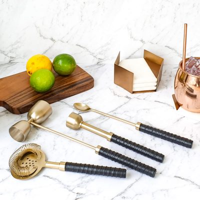 leather and brass cocktail tool kit