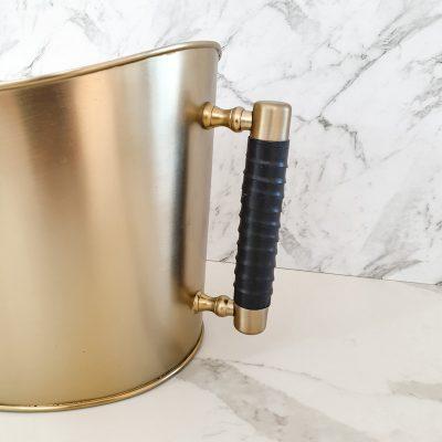 leather handle ice bucket