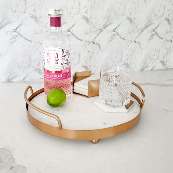 copper and marble tray