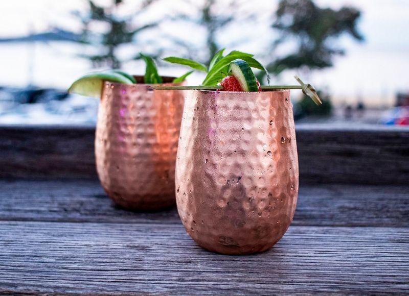 Stemless Copper Glasses outside