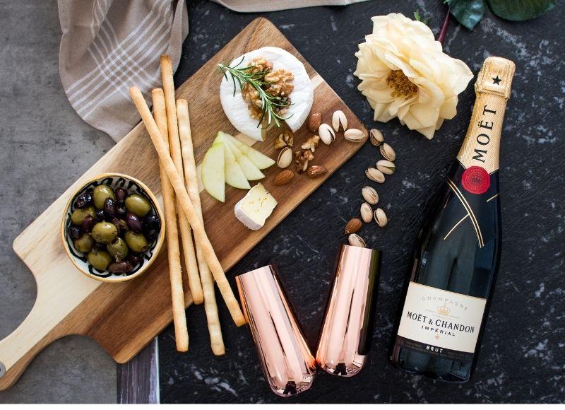 Stemless Copper Champagne Glasses at picnic