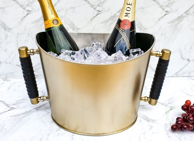 Leather and Brass Champagne bucket - perfect for picnics